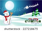 greeting card with snowman | Shutterstock .eps vector #227218675