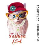 Stock photo t shirt graphics cute cat illustration cat poster cat graphics for textiles princess cat 227218921