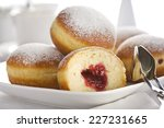 jam filled bismarck doughnuts... | Shutterstock . vector #227231665