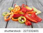 Sliced Pepper On Wooden...