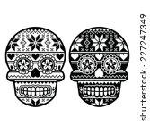 mexican black sugar skull with... | Shutterstock .eps vector #227247349