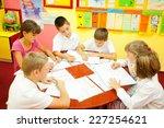 group of elementary school... | Shutterstock . vector #227254621