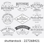 vector butcher meat badges and... | Shutterstock .eps vector #227268421