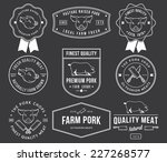 vector pork meat badges and... | Shutterstock .eps vector #227268577