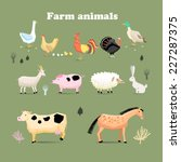 Set Of Farm Animals  Set In A...