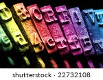 rainbow typewriter detail on... | Shutterstock . vector #22732108