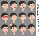 set of cartoon asian boy face... | Shutterstock .eps vector #227323861