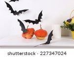 Pumpkins With Paper Bats...