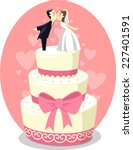 wedding cake with bride and... | Shutterstock .eps vector #227401591