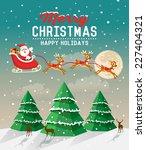 snowy christmas scene with... | Shutterstock .eps vector #227404321