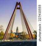 Small photo of COLUMBUS, INDIANA - OCTOBER 22: The Robert N. Stewart Bridge frames the Bartholomew County Courthouse on October 22, 2014 in Columbus, Indiana