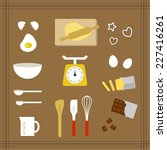 collection of kitchen tools for ... | Shutterstock .eps vector #227416261