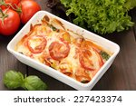 cannelloni baked in a roasting... | Shutterstock . vector #227423374