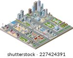 vector isometric city center on ... | Shutterstock .eps vector #227424391