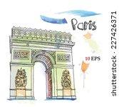 paris. the arc de triomphe.... | Shutterstock .eps vector #227426371