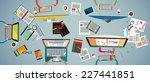 ideal workspace for teamwork... | Shutterstock .eps vector #227441851