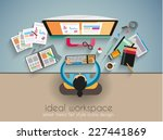 ideal workspace for teamwork... | Shutterstock .eps vector #227441869