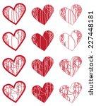 decorative hearts | Shutterstock .eps vector #227448181