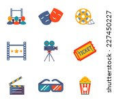cinema and movie flat icon set... | Shutterstock .eps vector #227450227