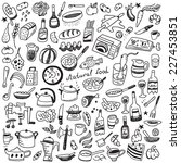 cookery  natural food   doodles ... | Shutterstock .eps vector #227453851