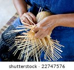Female Hands Manually Weaving...
