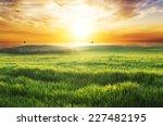 field with green grass against... | Shutterstock . vector #227482195