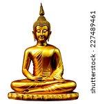 gold buddha statue on white. | Shutterstock . vector #227489461