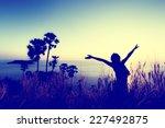 woman pulls hands to the sky.... | Shutterstock . vector #227492875