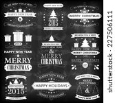happy new year  merry christmas ... | Shutterstock .eps vector #227506111