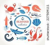 seafood objects collection   Shutterstock .eps vector #227509111