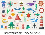 flat icons with ocean creatures ... | Shutterstock .eps vector #227537284