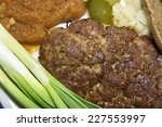 fried cutlet with mashed... | Shutterstock . vector #227553997