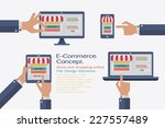 flat design vector illustration ... | Shutterstock .eps vector #227557489