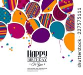 colorful birthday card with...   Shutterstock .eps vector #227575111