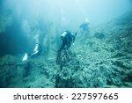diver underwater. barracuda... | Shutterstock . vector #227597665