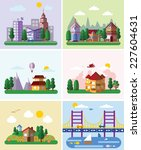 set of buildings in the style... | Shutterstock .eps vector #227604631