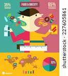 foods and obesity info graphic. ... | Shutterstock .eps vector #227605861