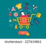 set of flat design concept... | Shutterstock .eps vector #227614861