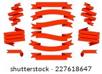 big red ribbons set  isolated... | Shutterstock .eps vector #227618647