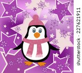 penguin cartoon illustration on ... | Shutterstock .eps vector #227621911