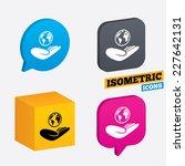 world insurance sign. hand...   Shutterstock .eps vector #227642131