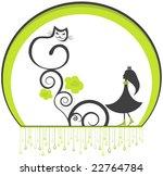 vector cat and girl illustration | Shutterstock .eps vector #22764784