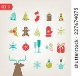 vector vintage christmas icons | Shutterstock .eps vector #227674075