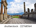 Ancient ruins of an old roman city Pompeii, Italy - stock photo
