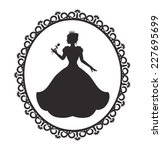silhouette of a princess in a... | Shutterstock .eps vector #227695699