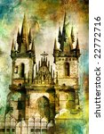 Prague - cathedral - artwork in painting style - stock photo