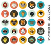 animal portrait set with flat... | Shutterstock .eps vector #227729221