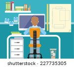 engineer sitting on chair at... | Shutterstock .eps vector #227735305