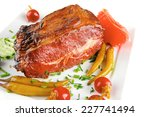 fat hot roast meat with red and ... | Shutterstock . vector #227741494