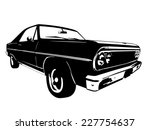 Stock vector vintage american muscle car vector silhouette 227754637